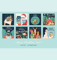 set christmas and happy new year vector image vector image