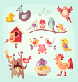 set colorful spring birds vector image vector image