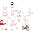 set cute drawn llama or alpaca funny animal vector image vector image