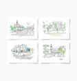 set four postcards about kyiv ukraine landscape vector image vector image