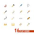 Set of 16 editable tools icons includes symbols