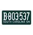 South Carolina 1954 license plate vector image vector image