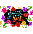 spring sale banner colotful tulips flowers black vector image