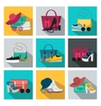 Square Fashion Accessories Icon Set vector image