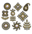 textile embroidered patches with sequins vector image vector image