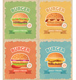 vintage fast food burgers set vector image