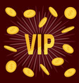 vip golden text flying coin rain with dollar sign vector image