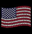 waving american flag stylization of soldier helmet vector image