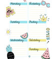 weekly summer planner template vector image vector image