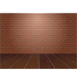 wooden floor and brick wall vector image vector image