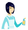 young asian cleaner in uniform holding detergent vector image vector image