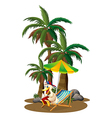 A duck reading near the palm trees vector image vector image