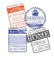 airplane and ship arrival square stamps of new vector image vector image