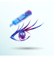 beautiful female blue eye mascara vector image vector image