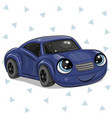 blue car with eyes on isolated on white background vector image