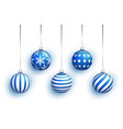 blue christmas tree toy set isolated on white vector image