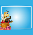 border template with bee sitting on roses vector image vector image