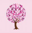breast cancer awareness tree of pink ribbons vector image vector image