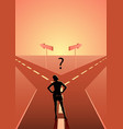 businesswoman choosing which path he should go vector image vector image