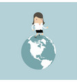 businesswoman running on the globe vector image