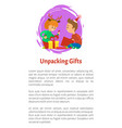 christmas holidays children unpacking gifts vector image vector image