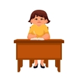 Chubby school girl sitting at the desk listening vector image