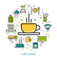 coffee and tea - line art vector image vector image