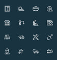 construction icons line style set with cement vector image