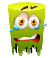 Crying face on green vector image vector image