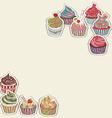 Cupcake pattern border vector image vector image
