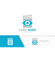 eye and clapperboard logo combination vector image