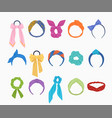 fashionable hoops and hair ties set gold bow with vector image