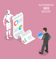 flat isometric concept automated seo vector image vector image