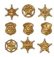 Golgen Sheriff Badges vector image vector image