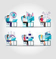 group people working and set icons business vector image
