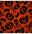 Halloween background with pumpkin and skeleton vector image