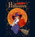 halloween poster cartoon young witch flying on vector image vector image