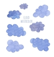 Hand drawn blue watercolor cloud vector image vector image