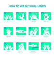 how to wash your hands vector image vector image