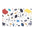 Isometric flat office items vector image vector image