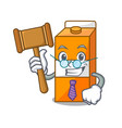 judge package juice mascot cartoon vector image vector image