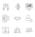 Letter icons set outline style vector image vector image