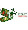 merry christmas retro watercolor folk bird banner vector image