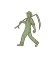 Organic Farmer Scythe Walking Mono Line vector image vector image