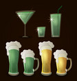 patricks day beers and drinks vector image vector image