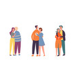 people couple character hug set family lover pair vector image vector image