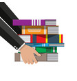pile of books in hand vector image vector image