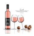 pink wine bottle and two glasses with chocolates vector image
