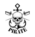 pirates emblem template with swords and pirate vector image vector image