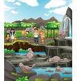 scene with animals and people at zoo vector image vector image